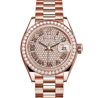 best Rolex Datejust Oyster 28 mm Everose gold and diamonds m279135rbr-0021