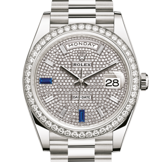 best Rolex Day-Date Oyster 40 mm white gold and diamonds m228349rbr-0036