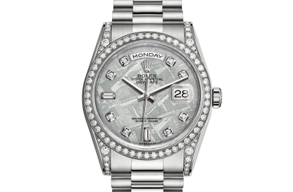 copy Rolex Day-Date Oyster 36 mm white gold and diamonds m118389-0102