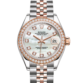 perfect Rolex Datejust Oyster 28 mm Oystersteel Everose gold and diamonds m279381rbr-0013